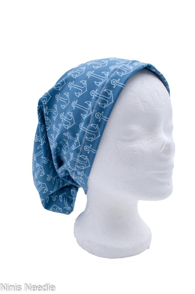 Dreieckstücher Bandanas   aus Jersey weiß mit Anker und blau weiß gestreift